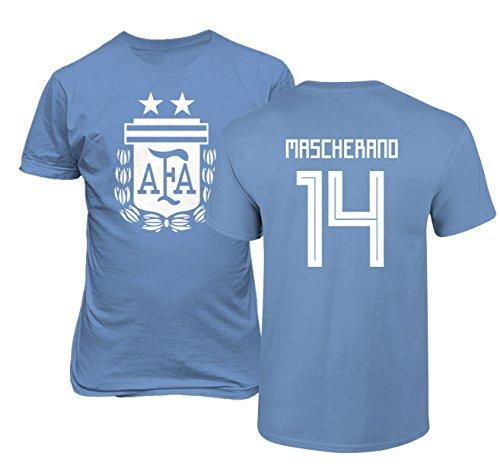 Tcamp Argentina 2018 National Soccer #14 Javier MASCHERANO World Championship Boys Girls Youth T-Shirt (Carolina Blue, Youth Medium)