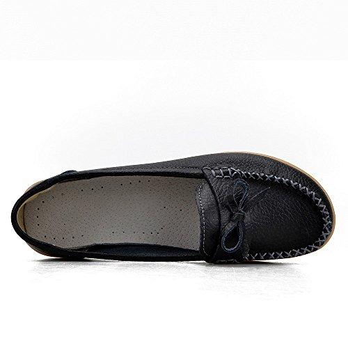 Earsoon Loafers Schuhe für Frauen Leder - Handwerk 2018 Frühjahr neue exklusive Serie Slip On Loafers Damen Penny Schwarz Comfort Walking Flat Loafers Schwarz