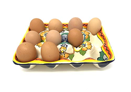 (Mexican Talavera Handpainted Ceramic Egg Crate Holds 12 Eggs Chicken Eggs Duck Eggs)