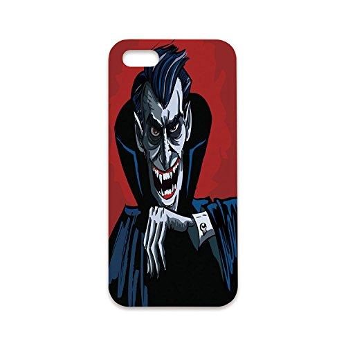 Phone Case Compatible with iPhone6 Plus iPhone6s Plus 3D Print,Vampire,Cartoon Cruel Old Man with Cape Sharp Teeth Evil Creepy Smile Halloween Theme,Blue Red Grey,Customized Phone Case ()