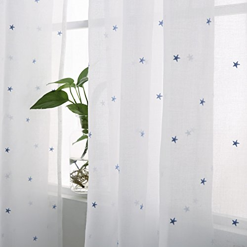 Deconovo White Sheer Curtains 84 inches Long Voile Drape Curtains Rod Pocket Star Embroideried Sheers for Nursery 52x84 2 Panels Blue Star by Deconovo