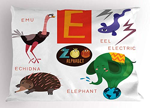 ABC Kids Pillow Sham, Happy Caricature Animal Alphabet Theme with Emu EEL Elephant Echidna for E Letter, Decorative Standard Queen Size Printed Pillowcase, 30 X 20 inches, Multicolor