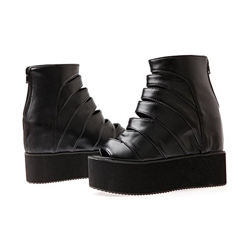 AllhqFashion Womens Zipper Peep Toe High Heels Pu Solid Sandals Black 1VB7s