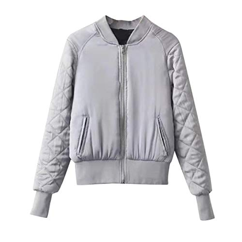 Con Baseball Giacche Manica Cotton Cerniera Winter Bomber Lunga Donna Langareyp Grey Jacket zqwUXg
