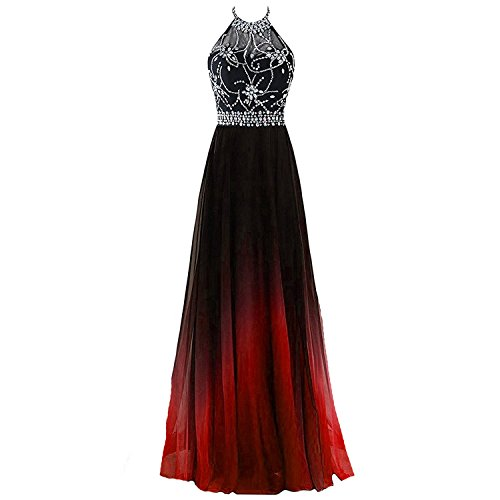 Kivary Sheer Beaded Halter Gradient Ombre Chiffon Long Prom Evening Dress Black Red US 2 Black Beaded Halter