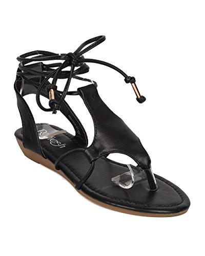 Alrisco Women Leatherette Gladiator Sandal - Micro Wedge Sandal - Ankle Wrap Sandal - GI51 by Black Leatherette