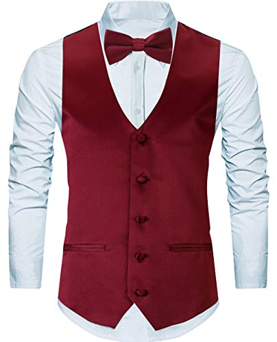 WANNEW 4pc Mens Tuxedo Vest Suit Vest Paisley Vest Set, with Bow Tie, Neck Tie & Pocket Hanky (Medium, Burgundy) -
