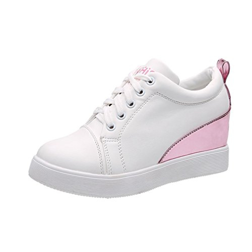 GIY Womens Fashion High Top Sneakers Lace Up Platform Wedges Hidden Heel Round Toe Casual Loafers Shoes White-pink 6af48psTir