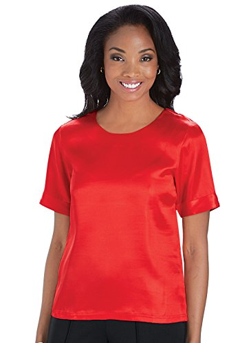 Carol Wright Gifts Satin Blouse, Red, Size Extra Large (2X) Xlg Satin
