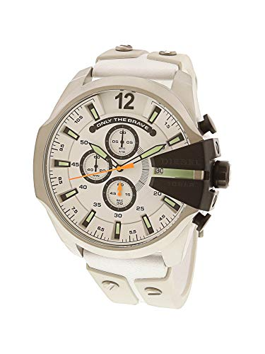 (Diesel Men's DZ4454 Mega Chief White Leather and Silicone Watch)