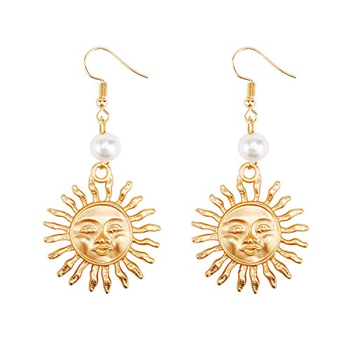 Zinc Alloy Pearl Dangle Earrings for Women Hammered for sale  Delivered anywhere in USA