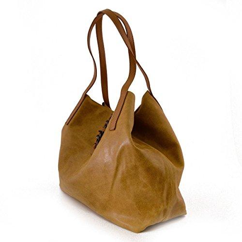 Sac Shopper En Cuir Avec Fermeture à Glissière Et Bouton à Pression Couleur Cognac - Maroquinerie Fait En Italie - Sac Femme