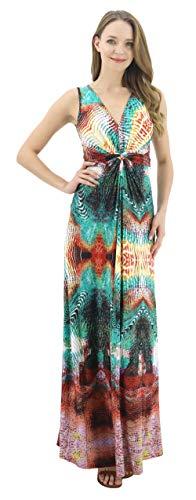 BENANCY Women's Sleeveless V-Neck Maxi Dress Print Knot Front Long Dresses with Belt yo-XL Yellow Orange ()