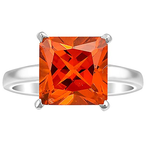 Desiregem Padparadscha Sapphire Lab Created 10x10 MM Square Shape 925 Sterling Silver Ring Size 6-10 DGR1074_E ()
