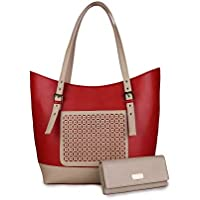 women marks Women's PU Red and Cream Shoulder Bag Combo