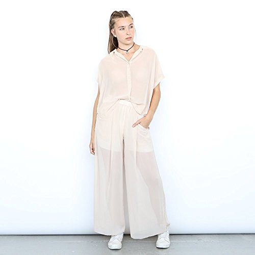 Chiffon Shirt, Sheer Blouse, Oversized Shirt ,Nude. by Naftul