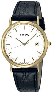 Seiko SKK694P1 - Reloj analógico de caballero de cuarzo con correa de piel negra - sumergible a 30 metros