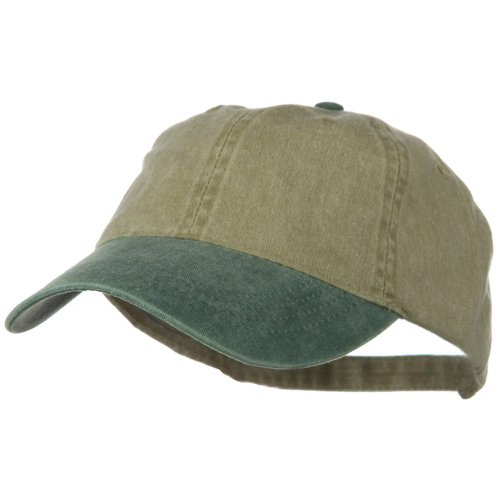 Washed Two Tone Pigment Dyed Cotton Twill Brass Buckle Cap - Dark Green Khaki OSFM