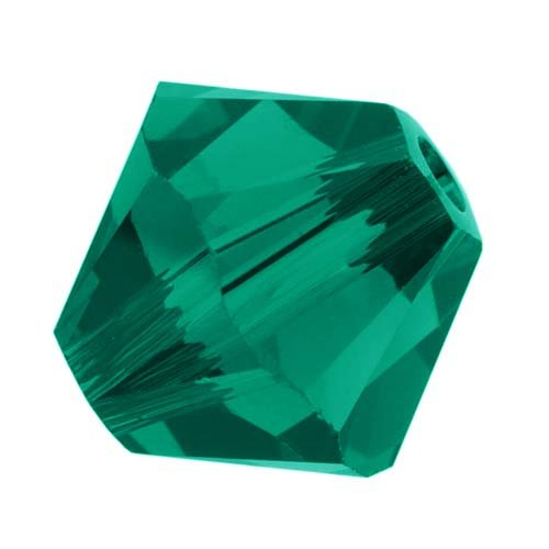 Swarovski Crystal, #5328 Bicone Beads 4mm, 24 Pieces, Emerald