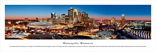 Minneapolis, Minnesota at Twilight - Blakeway Panoramas Unframed Skyline Posters