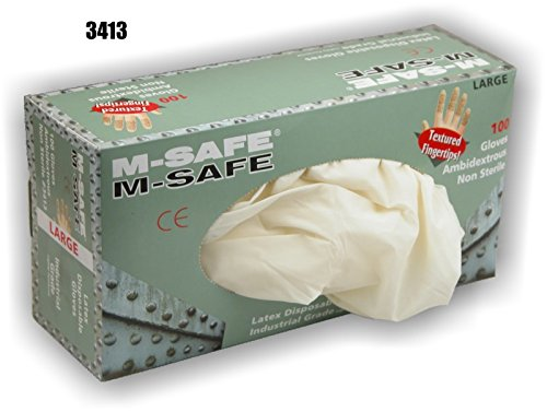 (20 Boxes) Majestic INDUSTRIAL GRADE DISPOSABLE LATEX GLOVES, 100/BOX - XTRA LARGE(3413/11)