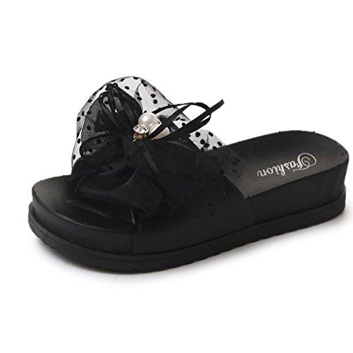 Frauen Damen Strandschuhe Sandalen Platform Damen Slipper Hausschuhe Vintage Sommer Flip Flops Sandalen Freizeitschuhe Schwarz Btruely Elegante Lcae Bowknot Sandaletten Offene RzZw8qcx