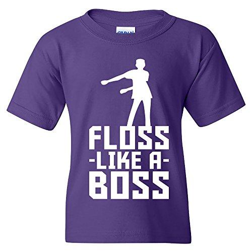 Floss Like A Boss - Flossin Dance Funny Emote Youth T Shirt - Small - Purple