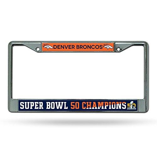 nfl-denver-broncos-super-bowl-50-champions-chrome-plate-frame12-inch-by-6-inchsilver