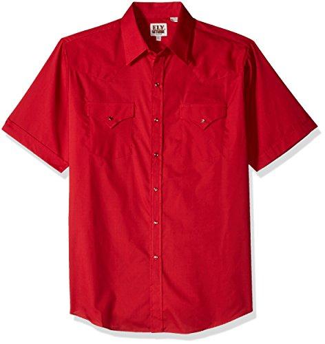 Ely & Walker Men's Short Sleeve Solid Western Shirt, Red,...