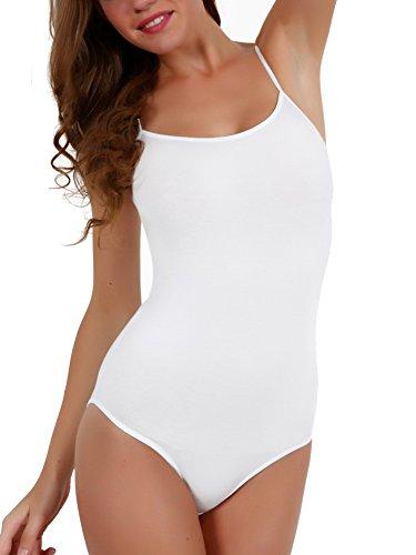 AdoBella Sleeveless Cami Strap Bodysuit Thin Spaghetti Strap Top with Scoop  Neck c760e4fa4