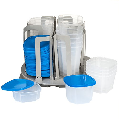 Chef Buddy 49 Piece Swirl Around Food Storage Organizer, Blue (Carousel Storage Organizer)