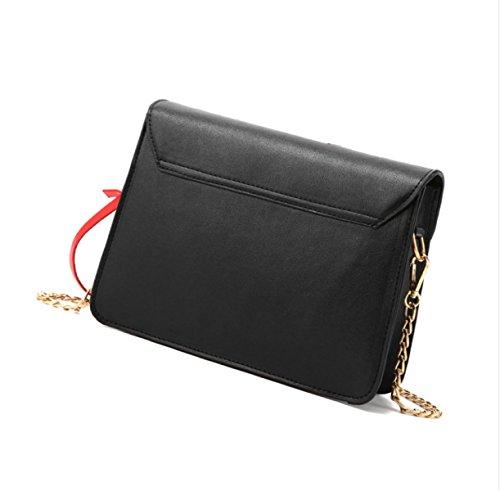 Fashion Quadrata Donne Messenger Semplice Piccola Borsa Coreane Catene Pelle In Tracolla Nera Ricamo A Clyqz Bag Selvatici Le qSxwvFBqP