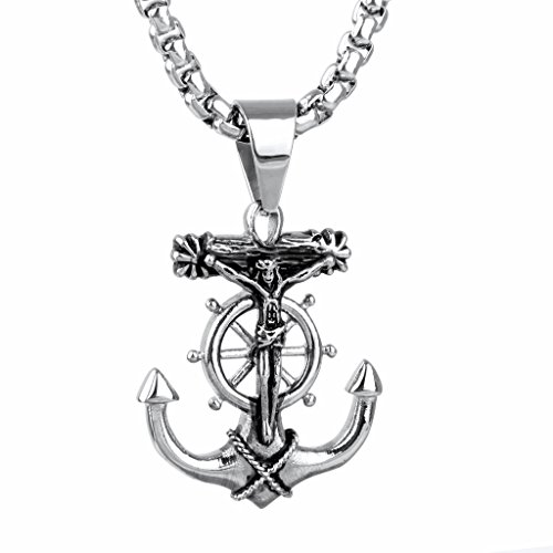 Jesus Cross Anchor (Jewelry Home Vintage Punk Men Silver Jesus Cross Anchor Stainless Steel Pendant with