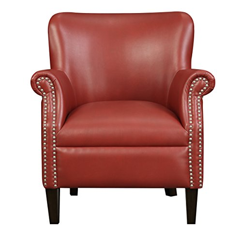(Emerald Home Oscar Red Accent Chair with Faux Leather Upholstery And Nailhead Trim)