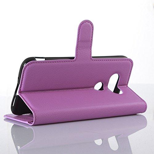 Funda LG G5 Billetera Carcasa, Forhouse Patrón de Litchi Lustroso Ligero Flip Prima PU Cuero Wallet Caso con [Kickstand][Ranuras para Tarjetas y Caja][Cierre Magnético] Delgado Fit Book Style Anti-Cho Púrpura