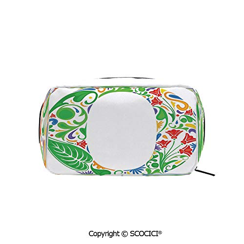 Rectangle Beauty Girl And Women Cosmetic Bags Floral Font O Circle with Colorful Jungle Flowers and Big Leaves Vintage Natural Decorative Printed Storage Bags for Girls Travel