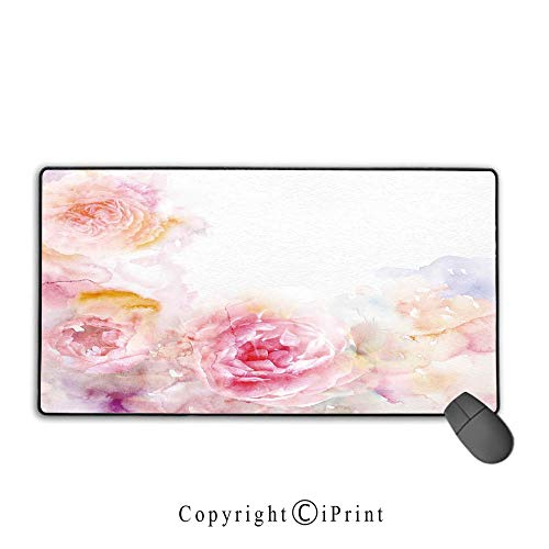 Non-Slip Rubber Base Mouse pad,Shabby Chic,Nature Garden Romantic Victorian Flowers Roses Leaves Image,Light Pink Hot Pink and White,Suitable for laptops, Computers, PCs, Keyboards, Mouse pad with - Flowers Victorian Pink Fairies