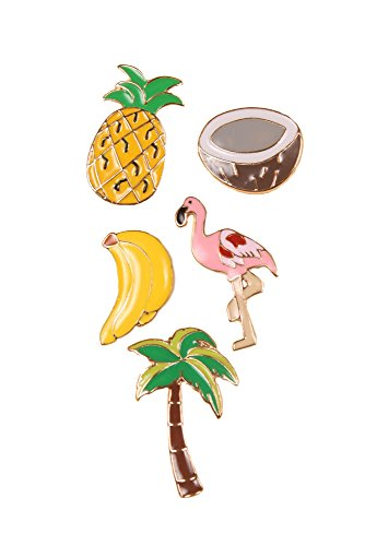 Sidecca-Tropical-Vacation-Flamingo-Pineapple-Banana-Coconut-Novelty-Enamel-Brooch-Pin-Set-5-Piece