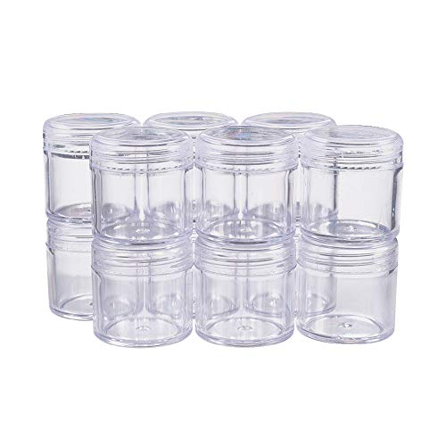 "BENECREAT 12 Pack 1.7""x1.73"" (40ml) Empty Clear Plastic Bead Storage Container jar with Rounded Screw-Top Lids for Beads, Nail Art, Glitter, Make Up, Cosmetics and Travel Cream from BENECREAT"