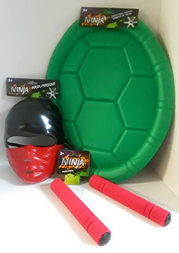 HALLOWEEN COSTUME OR DRESS UP FUN FOR CHILDREN TEENAGE MUTANT NINJA TURTLE INCLUDES MASK TURTLE SHELL AND NUMB CHUCKS