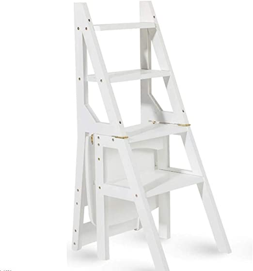 XRFHZT - Taburete de Escalera multifunción de bambú para niños (Madera Maciza, Doble Uso, Escalera de Cuatro peldaños): Amazon.es: Hogar