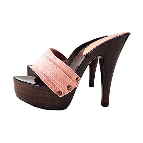 Italie Rose pour en Pink Fabriqué Talon Sabot K9201 13CM Femme qF0fwa