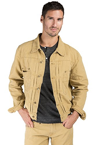 Level 7 Men's Timber Heavy Wash Canvas Trucker Jacket 100% Cotton Rugged and Stylish Size L Heavy Canvas Jacket