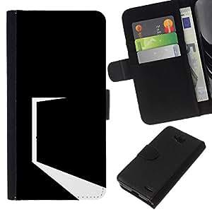 NEECELL GIFT forCITY // Billetera de cuero Caso Cubierta de protección Carcasa / Leather Wallet Case for LG OPTIMUS L90 // Minimalista Negro Puerta