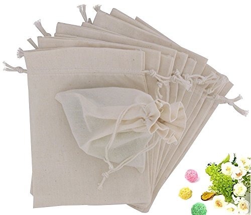 Wuligirl 12pcs Cotton Muslin Bag with Drawstring 4X6'',Burlap Cloth Bags Storage for Jewelry, Electronic Gadgets, Mobile Cell Phone,Pantry Bags(Cotton Muslin 12 pcs, (Cloth Jewelry Bags)