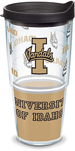 Tervis 1073253 Idaho Vandals Tumbler with Wrap and Black Lid 24oz, Clear ()