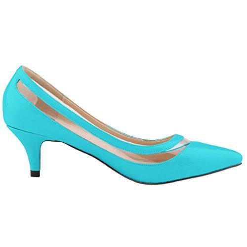 Pointed Wanyang Pumps Toe Elégants Chaussures Pointu Vernies Ouvertes Stiletto Bout Heel Femme Bleu gw5wxOqZ
