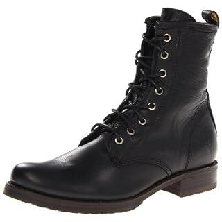 FRYE Women's Veronica Combat, Black Soft Vintage Leather, 7.5 M US
