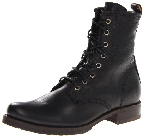 FRYE Womens Veronica Combat Boot Black Soft Vintage Leather