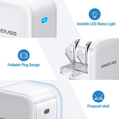 USB C Charger, POWERADD Mini PD18W Wall Charger Power Adapter with Foldable Plug, Retractable Fast USB C Wall Charger Compatible with iPhone 12/11 Pro/SE/mini, iPad Pro,AirPods,Pixel, Galaxy and More